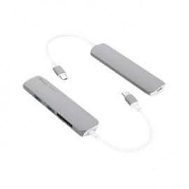 Mini hub usb tipo c silver
